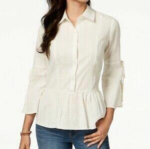 Style & Co Cute Peplum Bell Sleeve Cotton Top